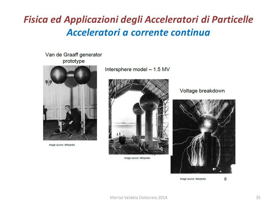 Fisica ed Applicazioni degli Acceleratori di Particelle Acceleratori a corrente continua Marisa Valdata Dottorato 201435