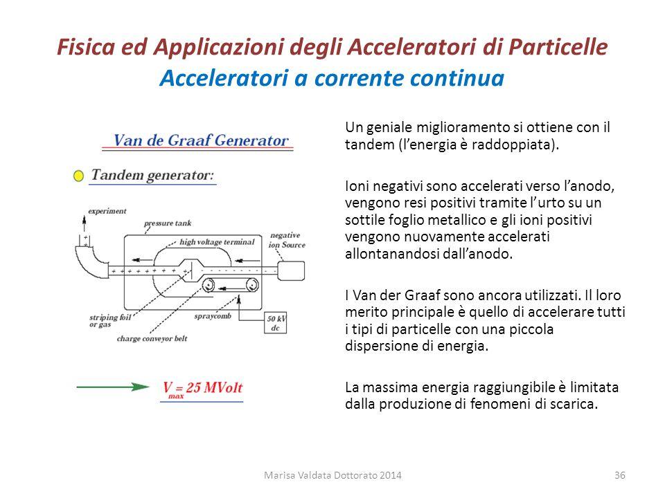 Fisica ed Applicazioni degli Acceleratori di Particelle Acceleratori a corrente continua Un geniale miglioramento si ottiene con il tandem (l'energia