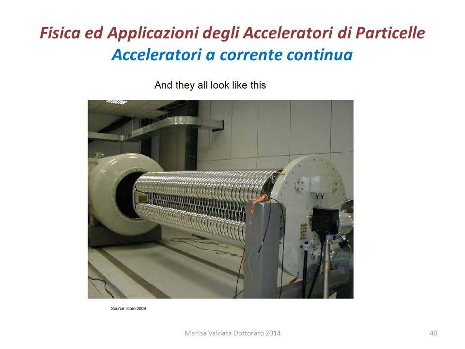 Fisica ed Applicazioni degli Acceleratori di Particelle Acceleratori a corrente continua Marisa Valdata Dottorato 201440