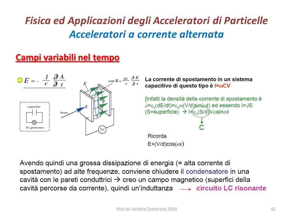 Fisica ed Applicazioni degli Acceleratori di Particelle Acceleratori a corrente alternata Marisa Valdata Dottorato 201441 Campi variabili nel tempo