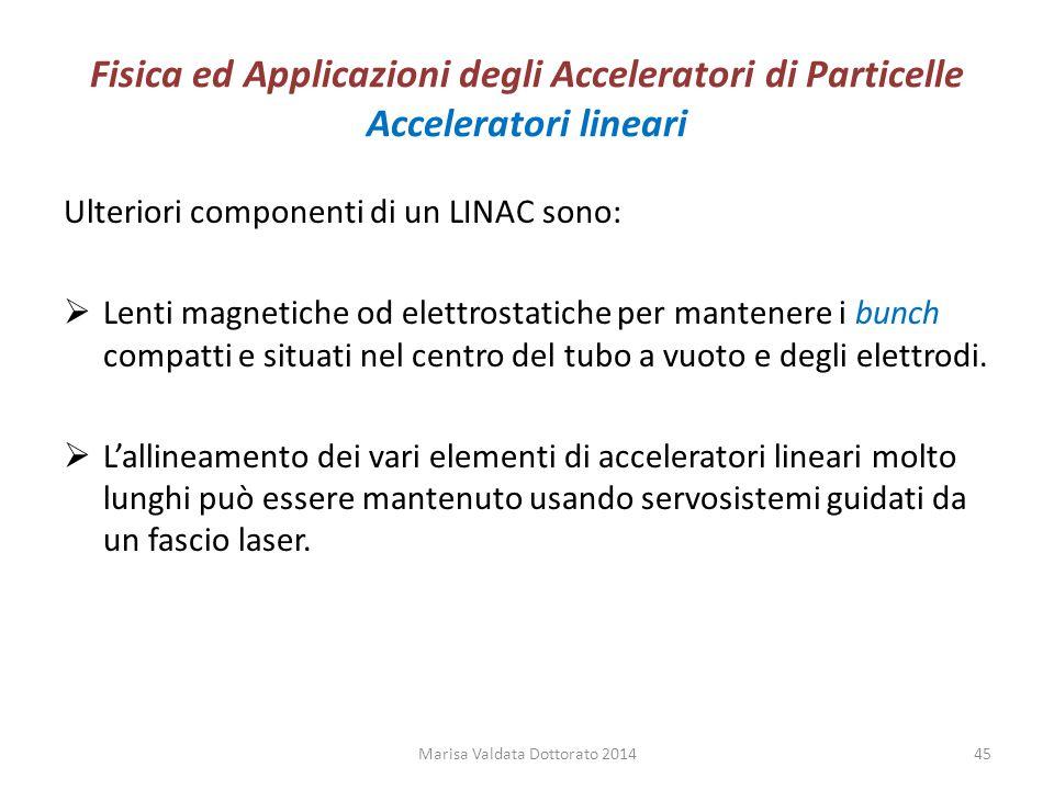 Fisica ed Applicazioni degli Acceleratori di Particelle Acceleratori lineari Ulteriori componenti di un LINAC sono:  Lenti magnetiche od elettrostati