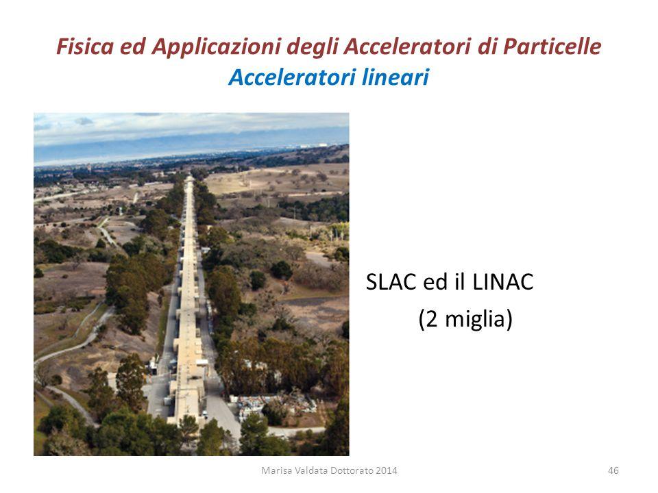 Fisica ed Applicazioni degli Acceleratori di Particelle Acceleratori lineari SLAC ed il LINAC (2 miglia) Marisa Valdata Dottorato 201446