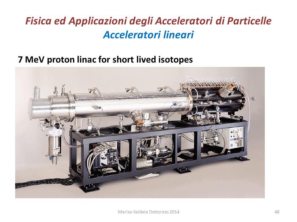 Fisica ed Applicazioni degli Acceleratori di Particelle Acceleratori lineari 7 MeV proton linac for short lived isotopes Marisa Valdata Dottorato 2014