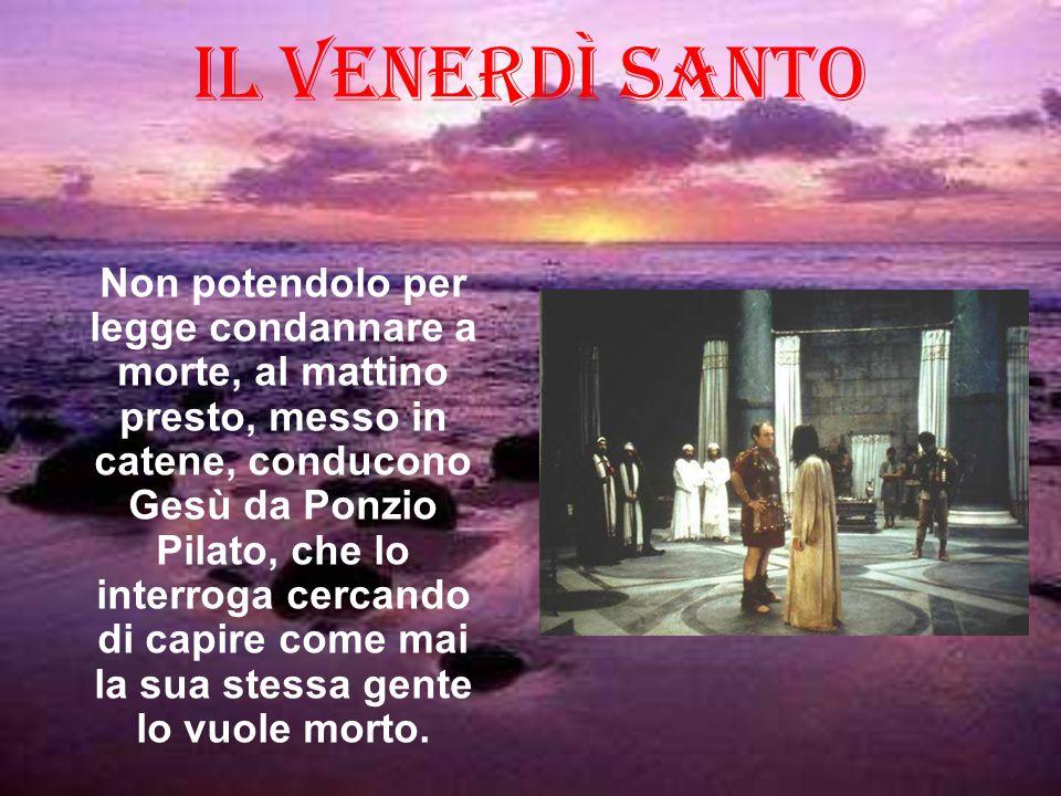 Non potendolo per legge condannare a morte, al mattino presto, messo in catene, conducono Gesù da Ponzio Pilato, che lo interroga cercando di capire c