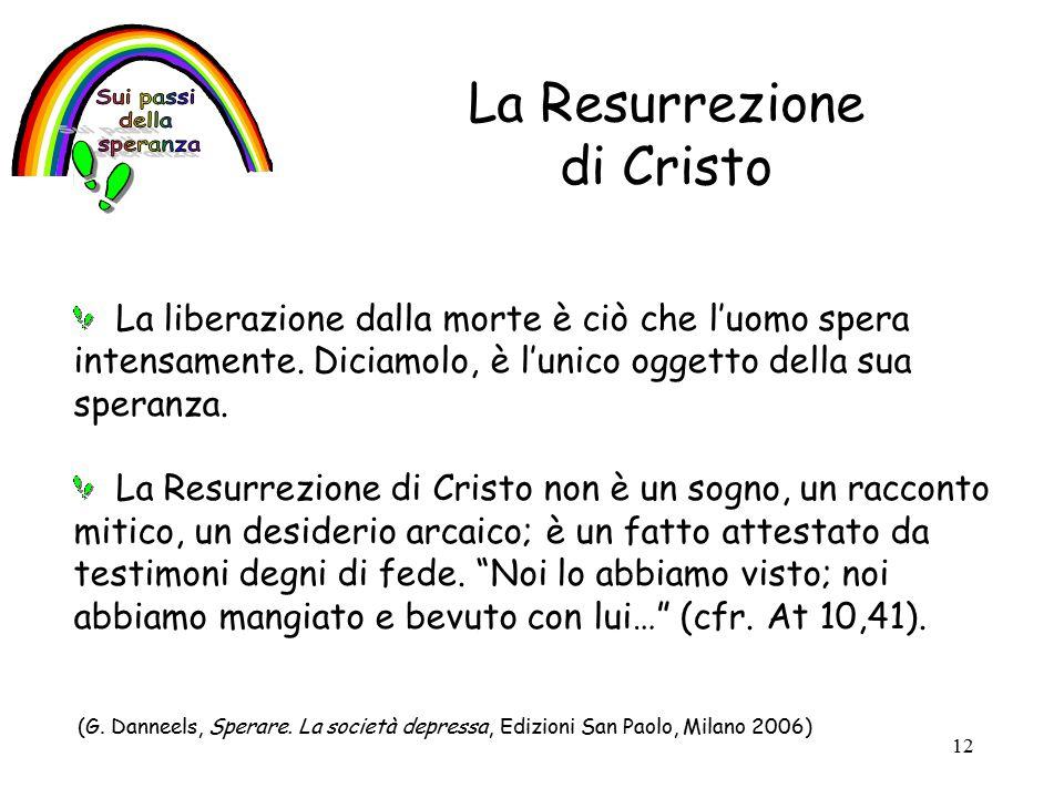 12 La Resurrezione di Cristo La liberazione dalla morte è ciò che l'uomo spera intensamente.