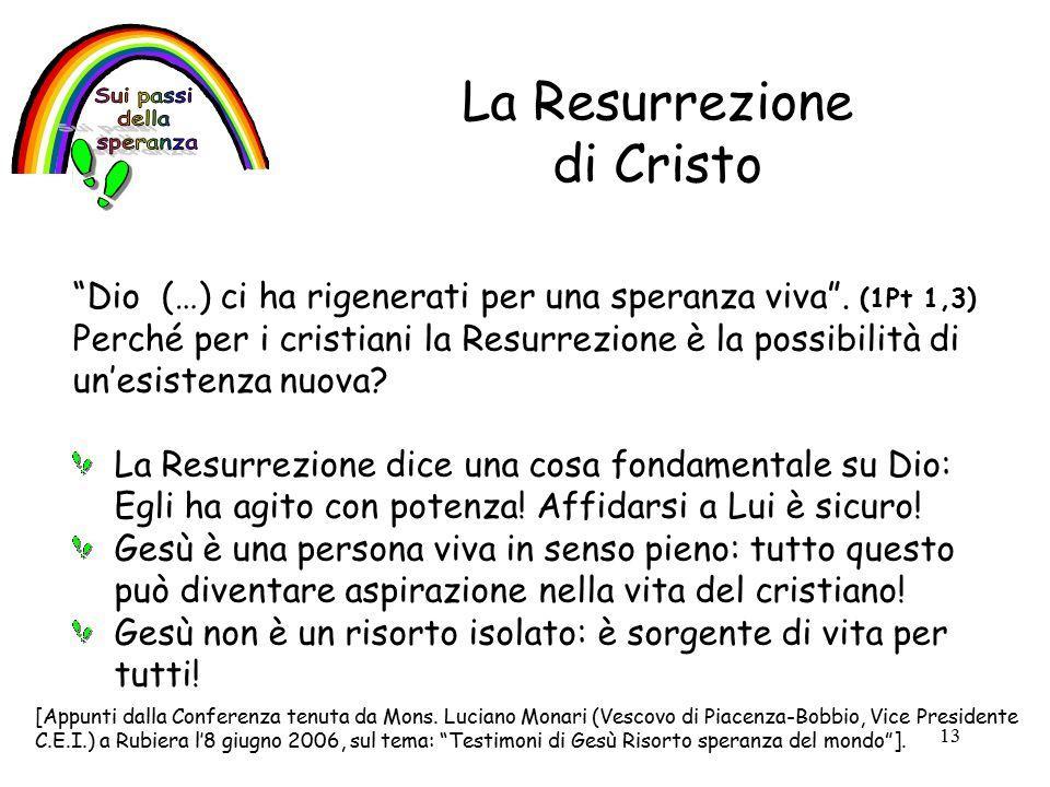 13 La Resurrezione di Cristo Dio (…) ci ha rigenerati per una speranza viva .