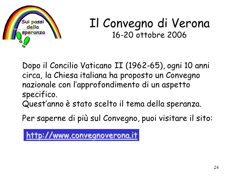 24 Il Convegno di Verona 16-20 ottobre 2006 Dopo il Concilio Vaticano II (1962-65), ogni 10 anni circa, la Chiesa italiana ha proposto un Convegno nazionale con l'approfondimento di un aspetto specifico.