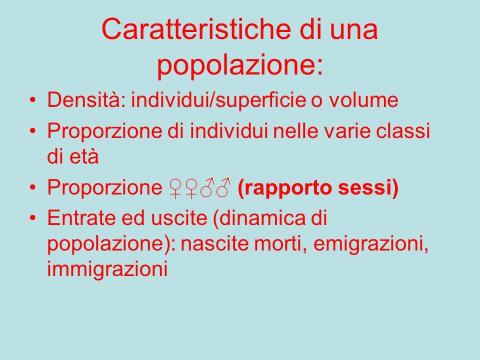 Caratteristiche di una popolazione: Densità: individui/superficie o volume Proporzione di individui nelle varie classi di età Proporzione ♀♀♂♂ (rappor