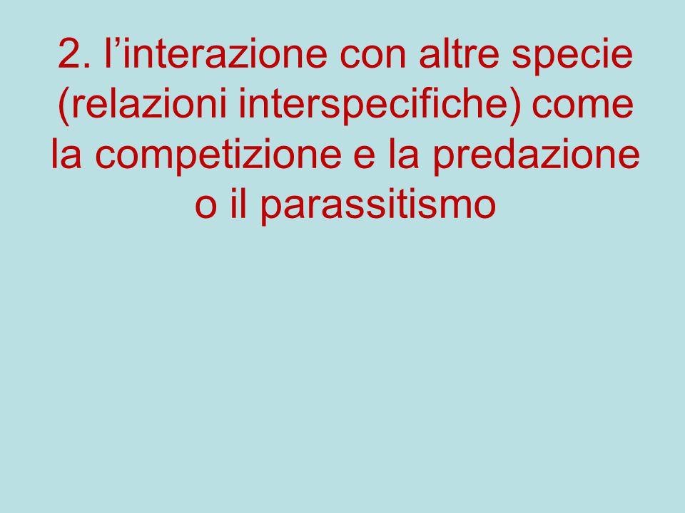 2. l'interazione con altre specie (relazioni interspecifiche) come la competizione e la predazione o il parassitismo