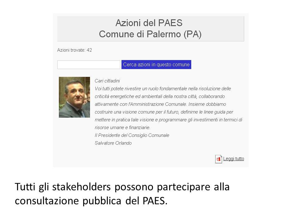 Tutti gli stakeholders possono partecipare alla consultazione pubblica del PAES.