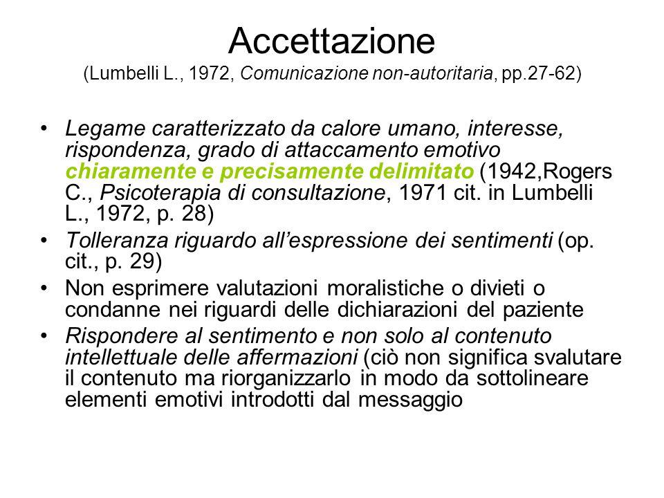 Accettazione (Lumbelli L., 1972, Comunicazione non-autoritaria, pp.27-62) Legame caratterizzato da calore umano, interesse, rispondenza, grado di attaccamento emotivo chiaramente e precisamente delimitato (1942,Rogers C., Psicoterapia di consultazione, 1971 cit.