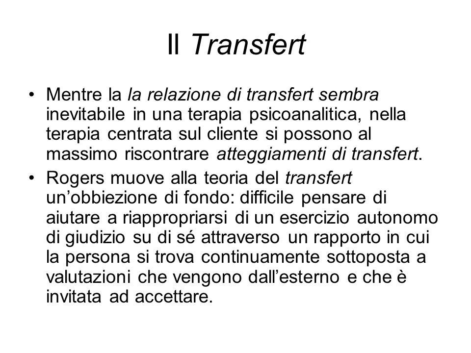 Il Transfert Mentre la la relazione di transfert sembra inevitabile in una terapia psicoanalitica, nella terapia centrata sul cliente si possono al massimo riscontrare atteggiamenti di transfert.