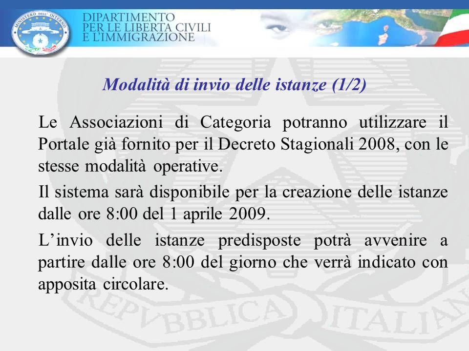 Le Associazioni di Categoria potranno utilizzare il Portale già fornito per il Decreto Stagionali 2008, con le stesse modalità operative.