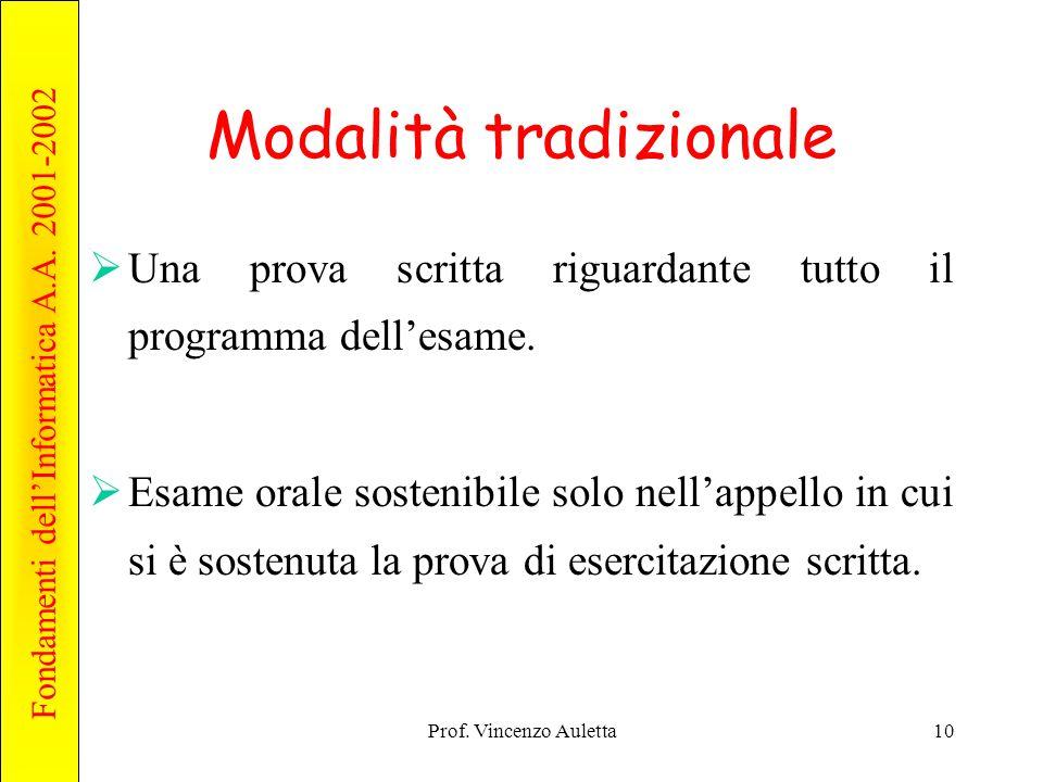 Fondamenti dell'Informatica A.A. 2001-2002 Prof. Vincenzo Auletta10 Modalità tradizionale  Una prova scritta riguardante tutto il programma dell'esam