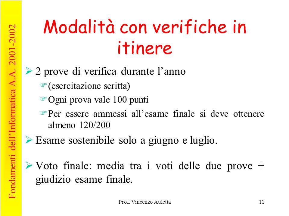 Fondamenti dell'Informatica A.A. 2001-2002 Prof. Vincenzo Auletta11 Modalità con verifiche in itinere  2 prove di verifica durante l'anno  (esercita