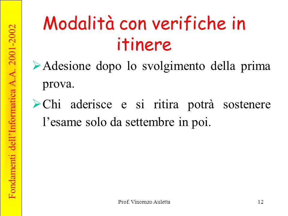 Fondamenti dell'Informatica A.A. 2001-2002 Prof. Vincenzo Auletta12 Modalità con verifiche in itinere  Adesione dopo lo svolgimento della prima prova