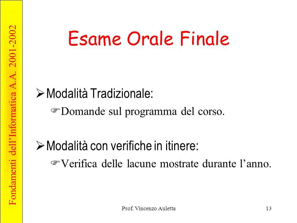 Fondamenti dell'Informatica A.A. 2001-2002 Prof. Vincenzo Auletta13 Esame Orale Finale  Modalità Tradizionale:  Domande sul programma del corso.  M