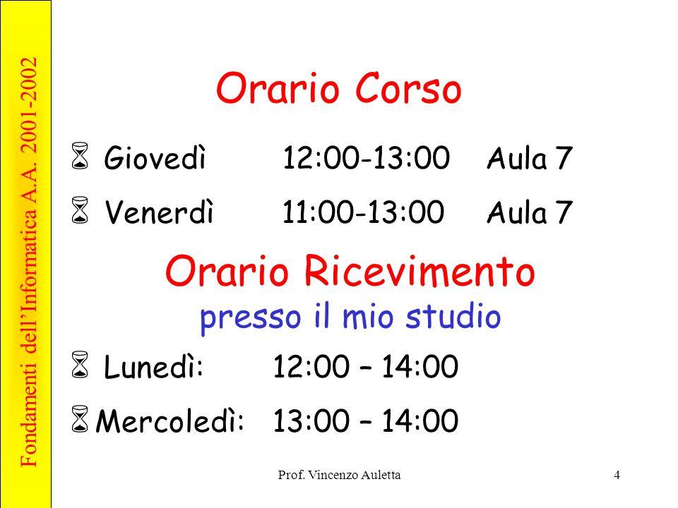 Fondamenti dell'Informatica A.A. 2001-2002 Prof. Vincenzo Auletta4 Orario Corso  Giovedì 12:00-13:00 Aula 7  Venerdì 11:00-13:00 Aula 7 Orario Ricev