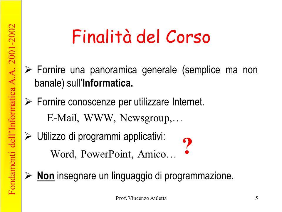 Fondamenti dell'Informatica A.A. 2001-2002 Prof. Vincenzo Auletta5 Finalità del Corso  Fornire una panoramica generale (semplice ma non banale) sull'