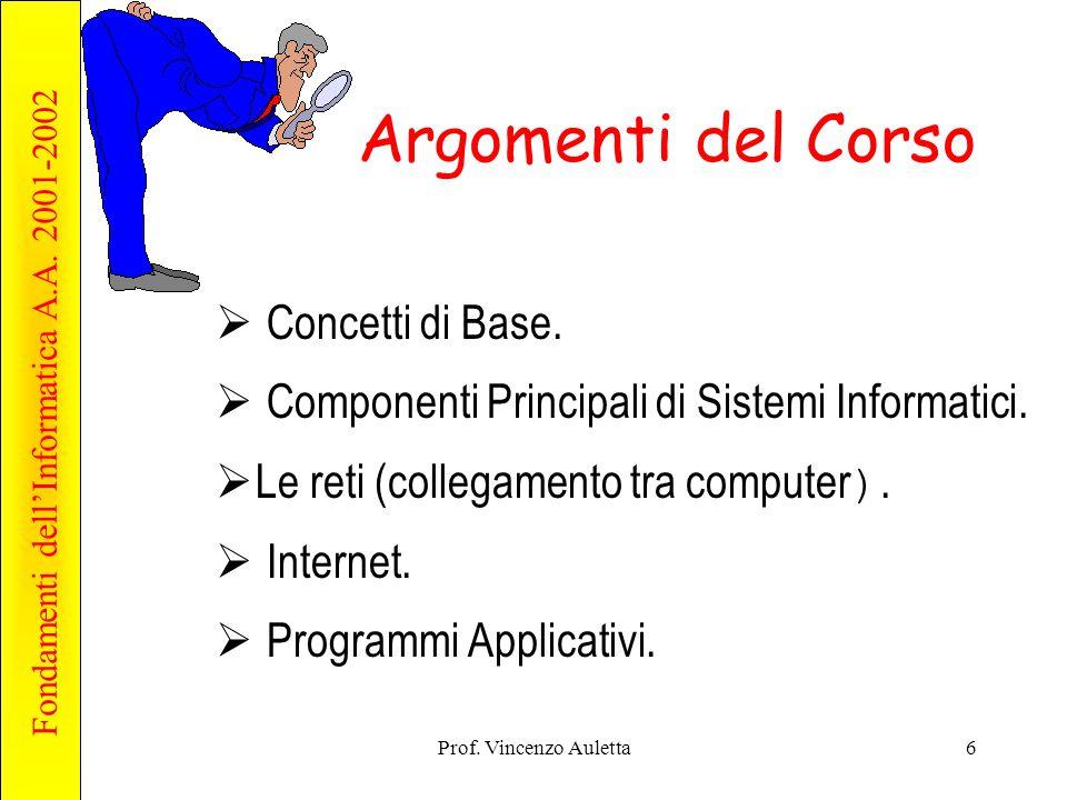 Fondamenti dell'Informatica A.A. 2001-2002 Prof. Vincenzo Auletta6 Argomenti del Corso  Concetti di Base.  Componenti Principali di Sistemi Informat