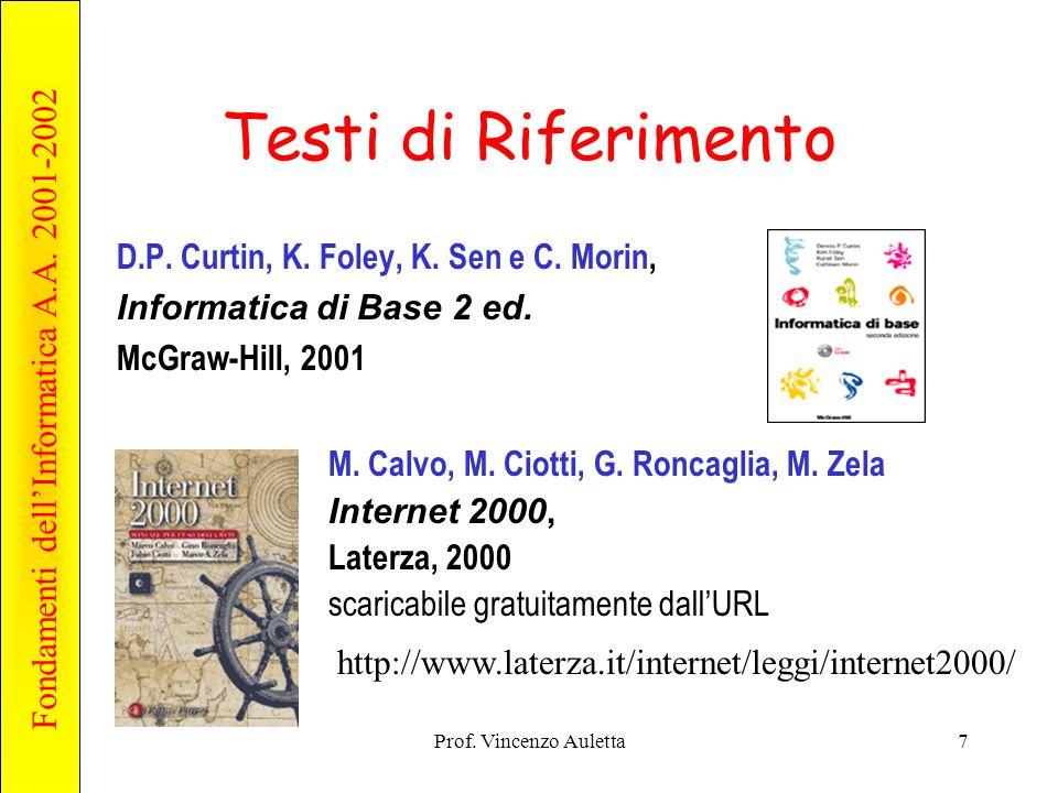 Fondamenti dell'Informatica A.A. 2001-2002 Prof. Vincenzo Auletta7 Testi di Riferimento D.P. Curtin, K. Foley, K. Sen e C. Morin, Informatica di Base
