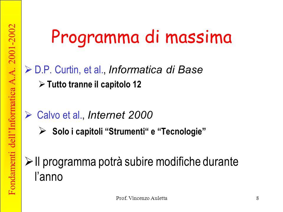 Fondamenti dell'Informatica A.A. 2001-2002 Prof. Vincenzo Auletta8 Programma di massima  D.P. Curtin, et al., Informatica di Base  Tutto tranne il c