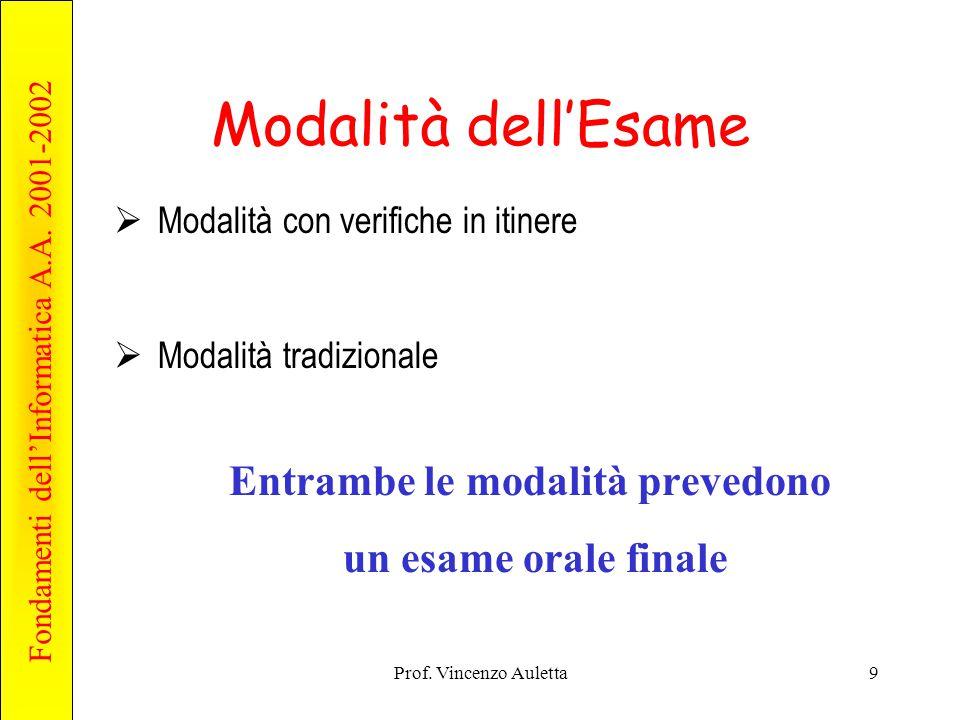 Fondamenti dell'Informatica A.A. 2001-2002 Prof. Vincenzo Auletta9 Modalità dell'Esame  Modalità con verifiche in itinere  Modalità tradizionale Ent