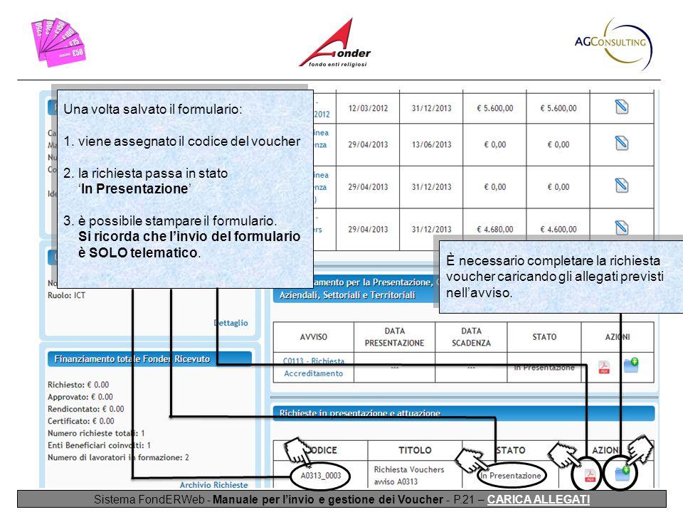 Sistema FondERWeb - Manuale per l'invio e gestione dei Voucher - P.21 – CARICA ALLEGATI Una volta salvato il formulario: 1.