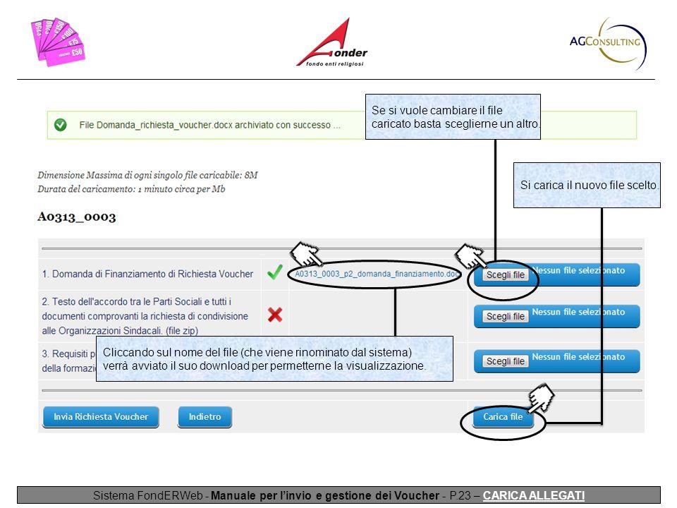 Sistema FondERWeb - Manuale per l'invio e gestione dei Voucher - P.23 – CARICA ALLEGATI Se si vuole cambiare il file caricato basta sceglierne un altro.