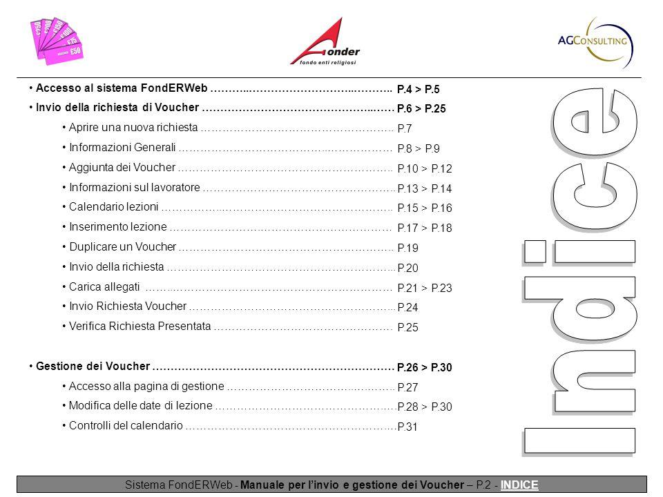 Sistema FondERWeb - Manuale per l'invio e gestione dei Voucher – P.2 - INDICE Accesso al sistema FondERWeb ………..………………………..………..