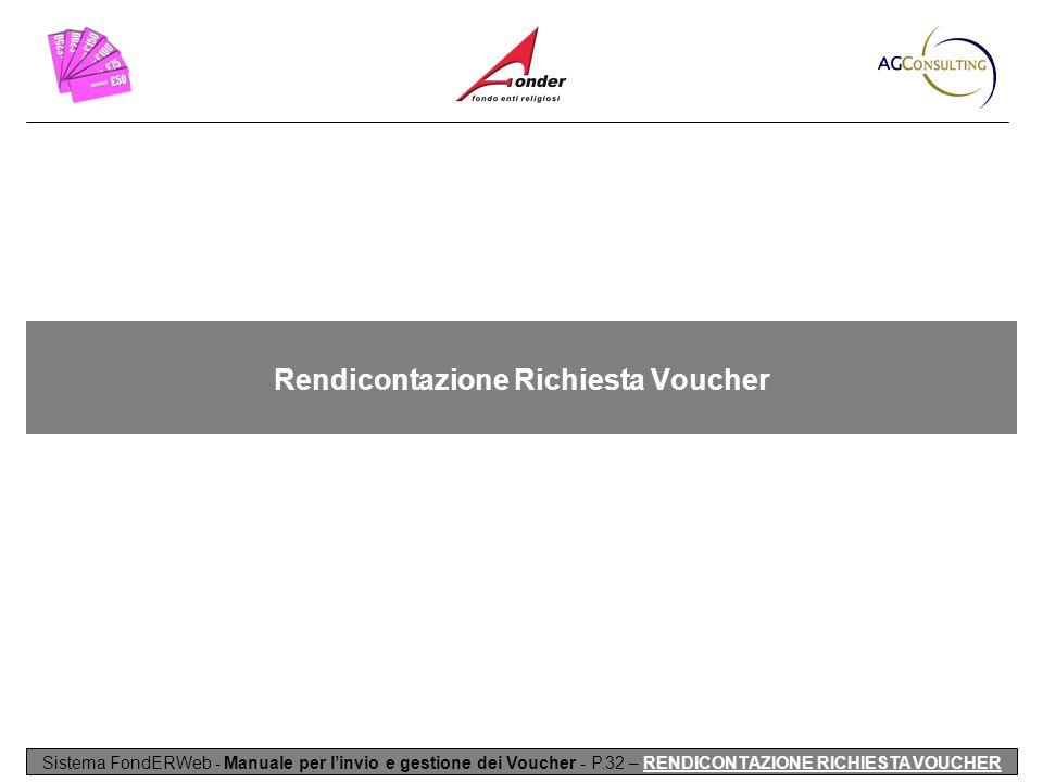 Rendicontazione Richiesta Voucher Sistema FondERWeb - Manuale per l'invio e gestione dei Voucher - P.32 – RENDICONTAZIONE RICHIESTA VOUCHER