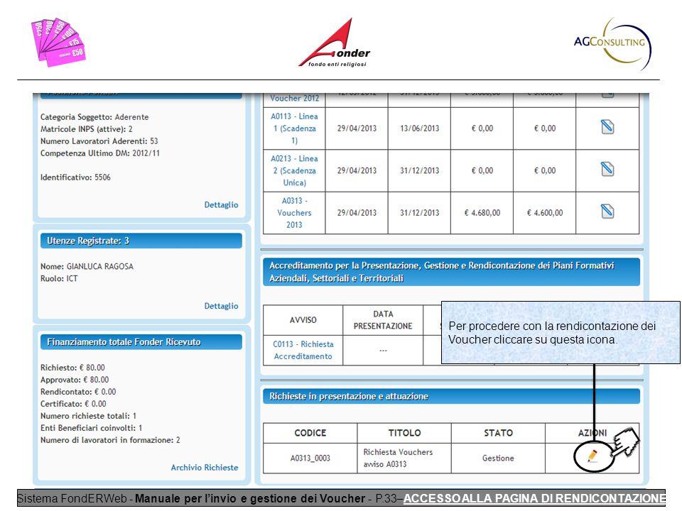 Sistema FondERWeb - Manuale per l'invio e gestione dei Voucher - P.33–ACCESSO ALLA PAGINA DI RENDICONTAZIONE Per procedere con la rendicontazione dei Voucher cliccare su questa icona.