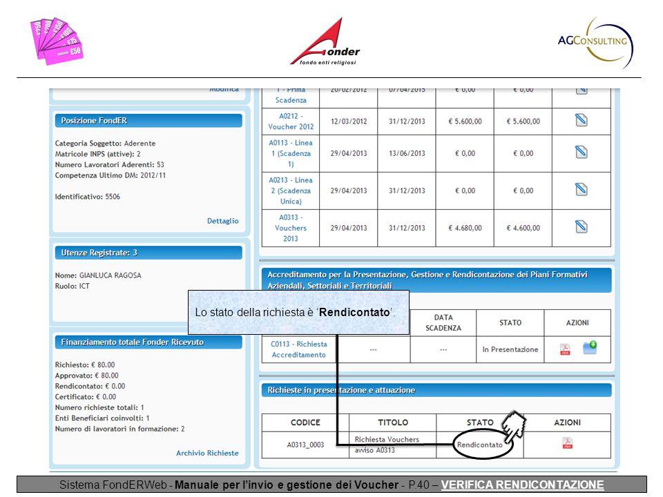 Sistema FondERWeb - Manuale per l'invio e gestione dei Voucher - P.40 – VERIFICA RENDICONTAZIONE Lo stato della richiesta è 'Rendicontato'.