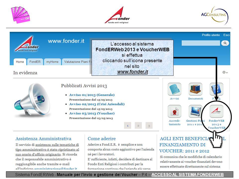 L'accesso al sistema FondERWeb 2013 e VoucherWEB si effettua cliccando sull'icona presente nel sito www.fonder.it L'accesso al sistema FondERWeb 2013 e VoucherWEB si effettua cliccando sull'icona presente nel sito www.fonder.it Sistema FondERWeb - Manuale per l'invio e gestione dei Voucher – P.4 – ACCESSO AL SISTEMA FONDERWEB