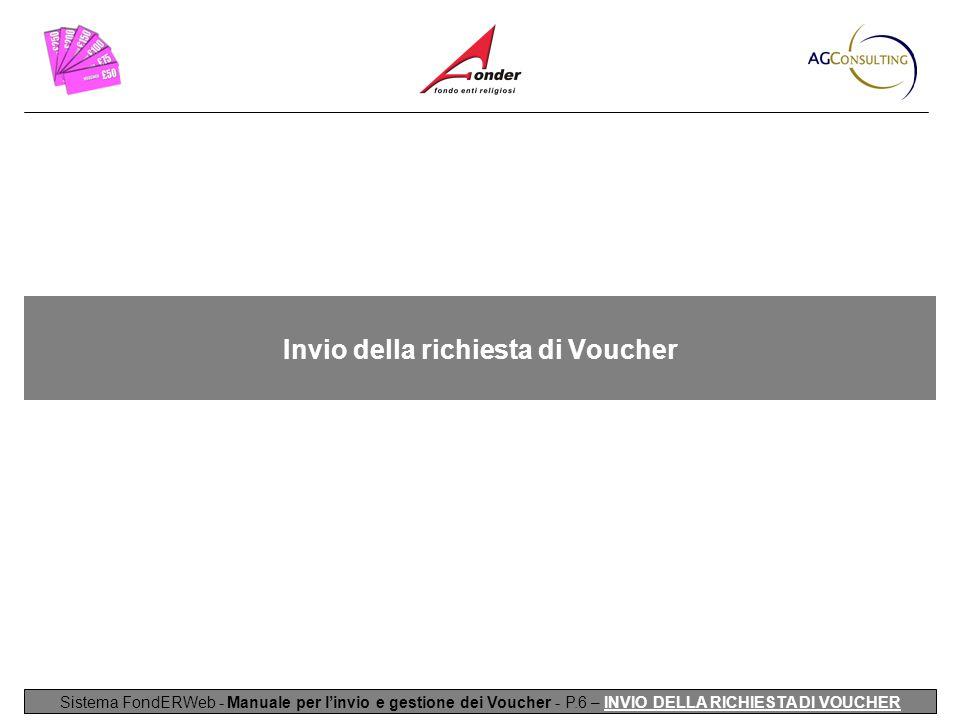 Invio della richiesta di Voucher Sistema FondERWeb - Manuale per l'invio e gestione dei Voucher - P.6 – INVIO DELLA RICHIESTA DI VOUCHER