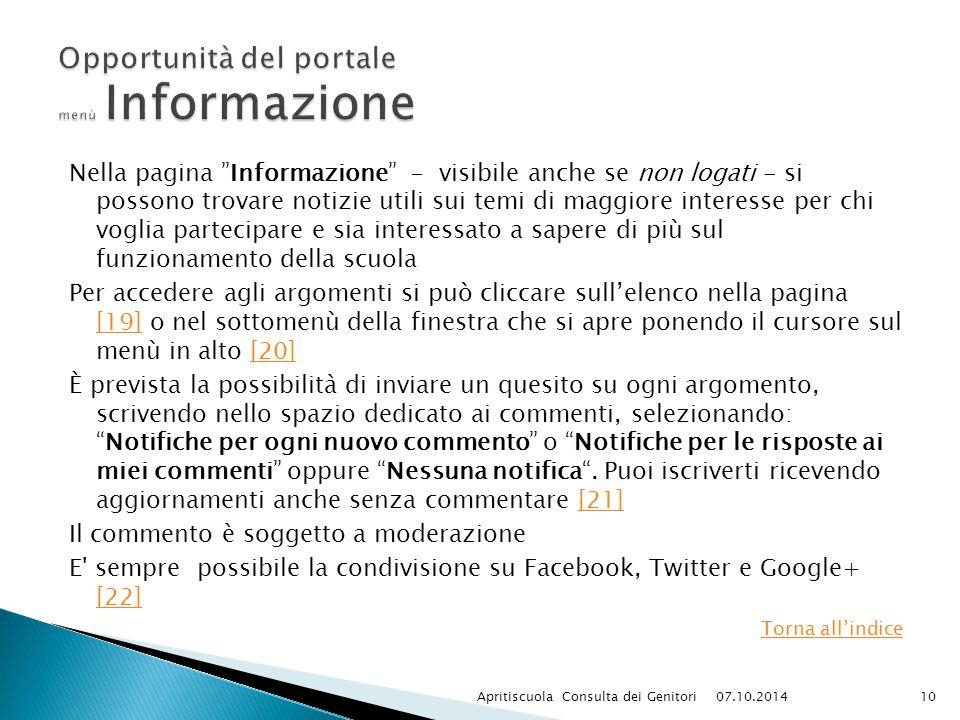 """Nella pagina """"Informazione"""" - visibile anche se non logati - si possono trovare notizie utili sui temi di maggiore interesse per chi voglia partecipar"""