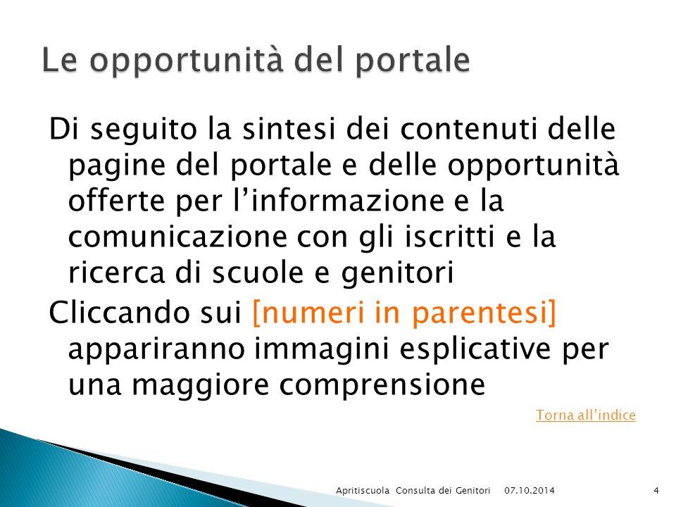 Di seguito la sintesi dei contenuti delle pagine del portale e delle opportunità offerte per l'informazione e la comunicazione con gli iscritti e la r