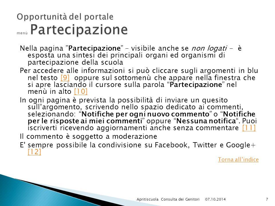 """Nella pagina """"Partecipazione"""" - visibile anche se non logati - è esposta una sintesi dei principali organi ed organismi di partecipazione della scuola"""