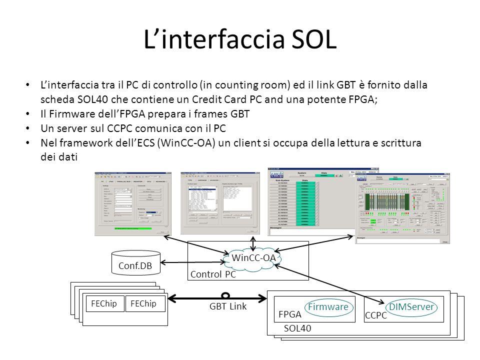 ECS dei muoni Il gruppo dell'On-Line si occuperà di fornire il software necessario al funzionamento della scheda GOL; La scheda SCA-GBT si occupa dell'interfaccia con le schede di Front-End ed Off- Detector; L'effetto più grosso sarà la rimozione delle ELMB che montano un microcontrollore al quale sono assegnate varie routines: - poche cose nel FEE in cui i microcontrollori sono usati principalmente per generare i segnali I2C; - le librerie di basso livello per le comunicazioni interne alle schede Off-Detector; In generale riteniamo che il grosso dell'attuale sistema di ECS dei muoni potrà essere utilizzato anche dopo l'upgrade.