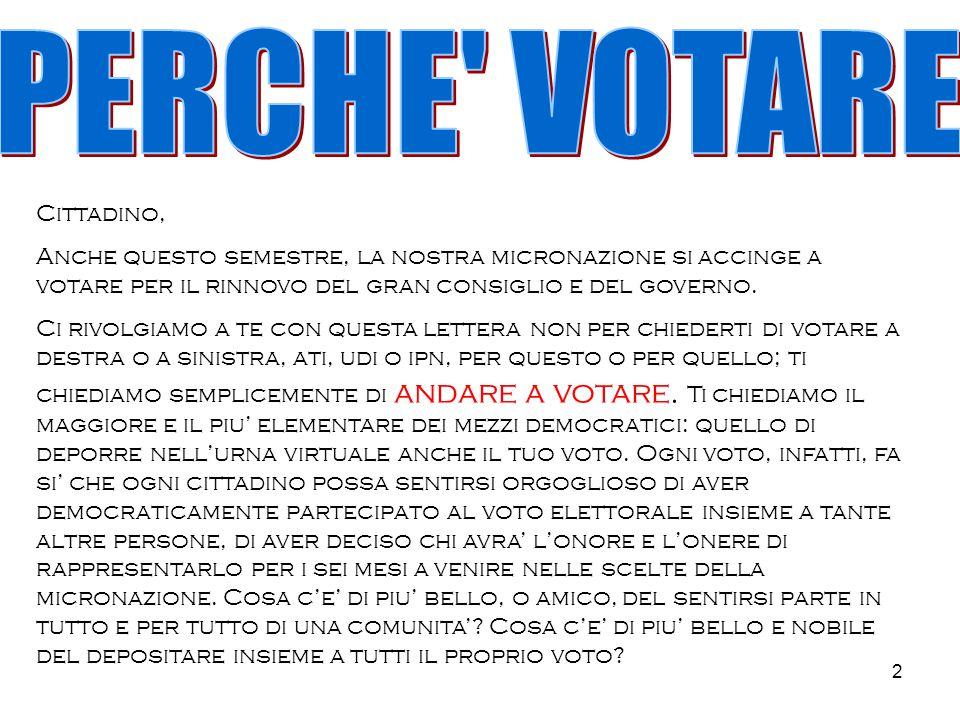 2 Cittadino, Anche questo semestre, la nostra micronazione si accinge a votare per il rinnovo del gran consiglio e del governo.