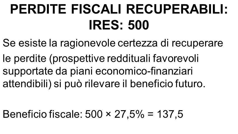 PERDITE FISCALI RECUPERABILI: IRES: 500 Se esiste la ragionevole certezza di recuperare le perdite (prospettive reddituali favorevoli supportate da pi