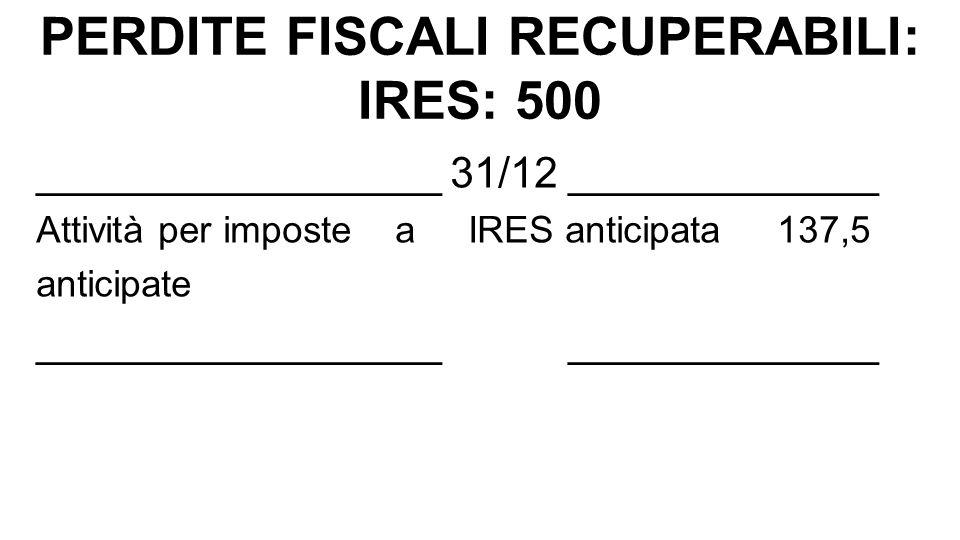 ESEMPIO PERDITE FISCALI BASE IMPONIBILE IRES ANNO n+1: Risultato ante imposte 500 (-) Perdita fiscale recuperabile (-) 400 100