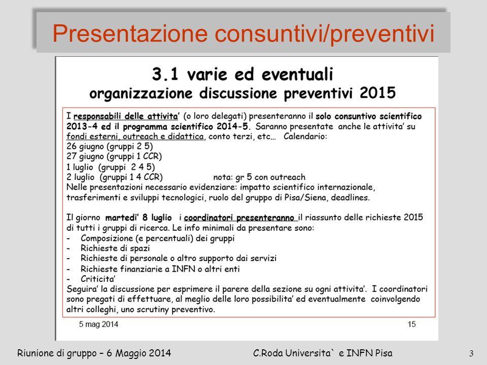 Presentazione consuntivi/preventivi Riunione di gruppo – 6 Maggio 2014C.Roda Universita` e INFN Pisa 3