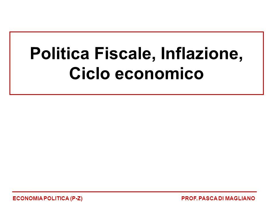 Uso della politica fiscale 1)Stabilizzatori fiscali automatici quali, ad esempio, le imposte proporzionali e progressive oppure i sussidi di disoccupazione 2)Politica fiscale discrezionale: quando lo Stato decide di variare di variare il livello della spesa pubblica o dell'imposizione fiscale ECONOMIA POLITICA (P-Z)PROF.