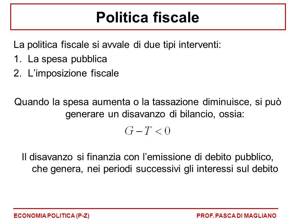 Politica fiscale La politica fiscale si avvale di due tipi interventi: 1.La spesa pubblica 2.L'imposizione fiscale Quando la spesa aumenta o la tassazione diminuisce, si può generare un disavanzo di bilancio, ossia: Il disavanzo si finanzia con l'emissione di debito pubblico, che genera, nei periodi successivi gli interessi sul debito ECONOMIA POLITICA (P-Z)PROF.