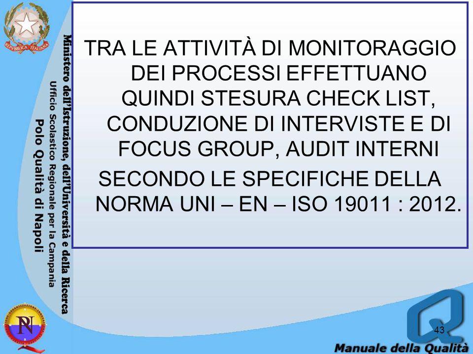 TRA LE ATTIVITÀ DI MONITORAGGIO DEI PROCESSI EFFETTUANO QUINDI STESURA CHECK LIST, CONDUZIONE DI INTERVISTE E DI FOCUS GROUP, AUDIT INTERNI SECONDO LE SPECIFICHE DELLA NORMA UNI – EN – ISO 19011 : 2012.