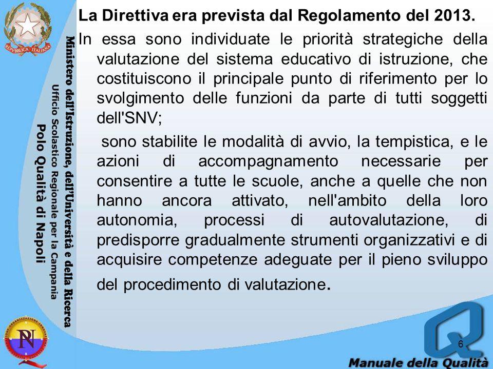 Nel corso del primo semestre dell anno 2015, secondo la Direttiva tutte le scuole devono predisporre il Rapporto di autovalutazione, utilizzando il quadro di riferimento definito dall Invalsi e i dati messi a disposizione tramite piattaforma operativa unica.