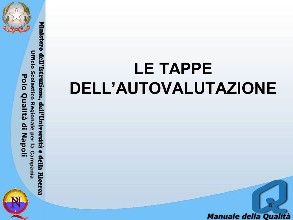 LE TAPPE DELL'AUTOVALUTAZIONE 61