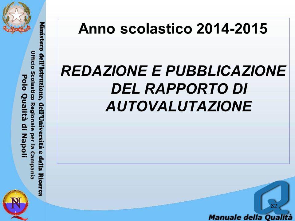 Anno scolastico 2014-2015 REDAZIONE E PUBBLICAZIONE DEL RAPPORTO DI AUTOVALUTAZIONE 62