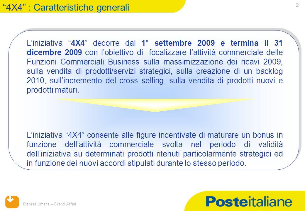 """15/04/2015 Risorse Umane – Clienti Affari 2 L'iniziativa """"4X4"""" decorre dal 1° settembre 2009 e termina il 31 dicembre 2009 con l'obiettivo di focalizz"""